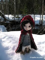 Imogen on the way to her grandma's house (kaahu no shin) Tags: winter snow cute fairytale forest outfit doll adorable littleredridinghood cape groove pullip blythe custom custo assa brh junplanning rewigged vinterarden bloodyredhood