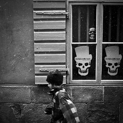 Stockholm Ghost Walk.. (Peter Levi) Tags: street city boy blackandwhite bw snow motion blancoynegro skull sweden stockholm streetphotography gamlastan skeletons oldtown x100 fujifilmx100 fujix100 fujifilmfinepixx100 stockholmghostwalk