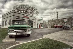 Sinclair Gas Station (BrianMoranHDR) Tags: tourism cloudy michigan retro gasstation aged hdr touristattraction sinclair hdrsoft canon1740mml topazlabs niksoftware canon5dmarkii viveza2 adobephotoshopcs5extended denoise5 silverefexpro2 colorefexpro4 photomatixpro413 cassapolis drrogerpecina