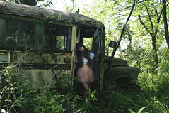 (yyellowbird) Tags: school selfportrait bus abandoned girl forest lolita cari