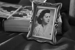 {Old BW} (Farmgirl18) Tags: life portrait bw white black table ol book photo still open grandmother map ancestor frame nurse geography cloth ornate