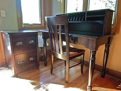 Custom Berlin Desk (Brian's Furniture) Tags: wood brown maple chair mail metro furniture top rich file drawer hutch custom tobacco slots legged solid inset