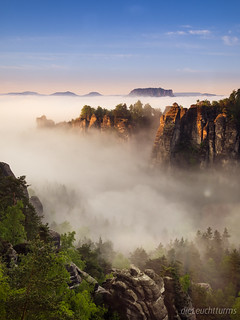 Sunrise and fog above Saxon Switzerland