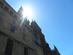 Sunshine on the Cathedral (caitlin.hassler) Tags: spain hiking santiagodecompostela pilgrim elcaminodesantiago thewayofstjames