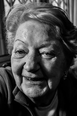 Portrait (Leonard M.) Tags: old portrait blackandwhite woman smiling