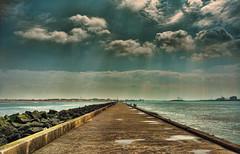 Hook revisited (Wim Koopman) Tags: light sea sky holland beach netherlands dutch pier fishing waves ship fishermen view dunes horizon north wide nederland dramatic rays hook rods hoek