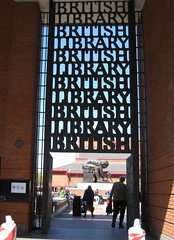 BRITISH LIBRARY BRTITISH LIBRARY! (chelseagirl) Tags: door light shadow london art sign typography gate library repetition lettering britishlibrary