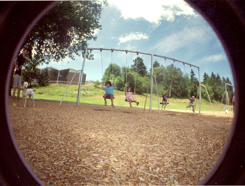 On the swings.