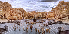 Bethesda Terrace in Infrared (Anatoleya) Tags: park new york city nyc fountain ir terrace manhattan central olympus infrared converted bethesda 665nm anatoleya epl3