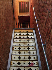 Going Up (Jo-Lee Photography & Art) Tags: old arizona usa stairs antique decorative holes handrail bisbee steep ornamentation risers quatrefoil tinwork fancyironwork
