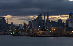 crop from a full frame taken with the H3Dii 39MS (mdcdigipics) Tags: longexposure sky panorama water clouds sunrise mediumformat reflections landscape twilight industrial cityscape australia melbourne victoria hasselblad docklands cloudporn waterside scapes landscapephotography skyporn portofmelbourne h3dii39ms