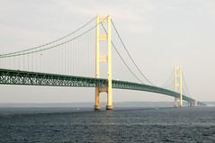 The Mackinac Bridge (Greg Buff) Tags: bridge lake boats boat suspension michigan greatlakes bigmac huron mackinac mackinaw
