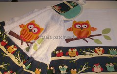 Conjunto Cozinha Corujas na Night.... (tania patchwork) Tags: patchwork cozinha corujas panodeprato batemão