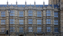 Palace of Westminster, detail of windows in fron of the House of Lords