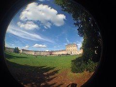 The Crescent (CoasterMadMatt) Tags: park uk greatbritain autumn england fish southwest west building eye english architecture project lens photography photo october bath day photos unitedkingdom britain south royal somerset structure crescent fisheye attachment photoaday gb georgian british 365 fisheyelens iphone royalcrescent theroyalcrescent 2013 365project coastermadmatt uploaded:by=flickrmobile flickriosapp:filter=nofilter pad2013365
