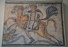 Part of a panel from a mosaic pavement: Meleager on horseback spears a leopard, 4th century AD, British Museum (Following Hadrian) Tags: roman mosaic halicarnassus