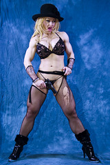 Fitness model / bra and panties gun play (Rick Drew - 20 million views!) Tags: hot ass muscles hat big high gun tits mesh butt babe lips thong weapon blonde heels sw lipstick nylons 9mm smithwesson