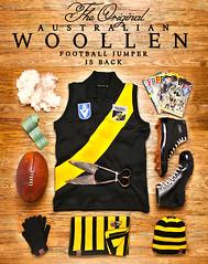 Woollen Football Jumpers are back (Seb Ian) Tags: old history wool vintage boot football boots australian australia richmond retro historical jumper aussie guernsey australianfootball afl woollen rfc richmondfootballclub aussiefootball