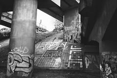 Praha (kaddafi210) Tags: m42 prakticaplc2 praktica analog film analogue 35mm czechrepublic czech summer light retro vintage old bw blackandwhite monochrome praha prague architecture bridge graffity art shadows