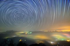 ~~   Startrails above Colored glass light Clouds (Shang-fu Dai) Tags:  taiwan    clouds nikon d800 sky   coloredglasslight liulilazurite landscape formosa nightscene nantou  startrails