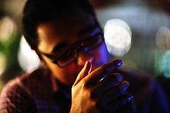 The Trouble With Aashiq DJ (N A Y E E M) Tags: farhaan aashiqdj light cigarette smoke bokeh fire lastnight candid portrait baikalbar radissonblu chittagong bangladesh availablelight indoors handheld