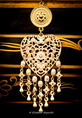 Day 323, 2016, a photo a day. (lizzieisdizzy) Tags: jewelery jewelry earring embellishmeny indian silver hearts drops pearls pearly pretty bridal circle coin coinshaped link links piercedears