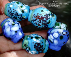Rocks Periwinkle Aqua Mermaids Kilimanjaro (Laura Blanck Openstudio) Tags: openstudio openstudiobeads set beads jewelry bead handmade lampwork glass murano big rocks pebbles stones nuggets faceted frit whimsical funky odd abstrac organic asymmetric colorful multicolor lilac purple violet grape lavender fine arts art artist artisan made usa italy argenitinian winner published show festival blue periwinkle turquoise aqua white green iridescent mermaid bottle pine ocean lagoon water maroon burgundy bordeaux wine matte etched glow opaque frosted japanese style