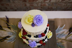 the cake (KieraJo) Tags: wide angle canonef24mmf14liiusm l lens canon 5d mark 3 iii 5d3 fullframe dslr wedding reception detail shot cake flowers yellow purple berries raspberries blueberries strawberries pretty diy backyard from above