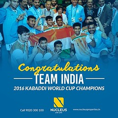 Champions of the world! The Indian Kabaddi  Team has won the #2016KabaddiWorldCup, beating Iran 38-29 in the final. Congratulations!  #Kerala #Kochi #India #Architecture #Home #Construction #City #Elegance #Moment #Elegant #Building #Beauty #Beautiful #Ex (nucleusproperties) Tags: kabaddi life beautiful kochi elegant style moment kerala celebration lifestyle india luxury comfort apartment nature architecture interior gorgeous design elegance beauty 2016kabaddiworldcup building exquisite view city construction atmosphere home living
