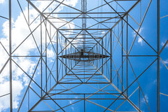 Geometric view of the sky (Chris Huddleston) Tags: chattanooga sunny transmissiontower fairweather cloud steel abstract overhead powerline lattice noperson sky tennessee
