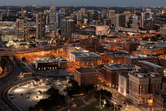 Dallas from above (reunion tower) with a special view of the The Sixth Floor Museum (JFK Museum)                       #dallas #cowboys #jfk #museum #reuniontower #rt #president #oswald #sixthfloor (lackystrike) Tags: reuniontower museum president jfk cowboys sixthfloor dallas oswald rt