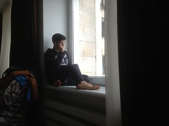 Dreamy boy (GrusiaKot) Tags: ucraina ukraine україна украина travelling autumn dreamy boy man reading pensive meditazione ombra luce piedi