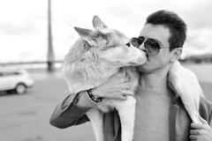 Evald and the Dog - 2 of 3 (Pavels Dunaicevs) Tags: guy portrait dog autumn riga latvia husky man sunglasses street city urban river parking male nikon nikkor d750 28mm celebrity animal pet fashion style irclv