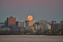 Perigee moon rising over Ottawa (beyondhue) Tags: supermoon moon perigree moonrise ottawa river skyline horizon beyondhue ontario canada perigee
