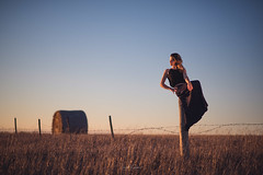Haylee L. 617316 (Ian McGregor Photography) Tags: canada country hayleel ianmcgregor nikon photography pole sunset barbed fence ianmcgregorphotographycom model wire