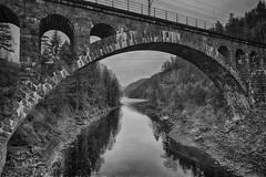 Kjeåsbrua (la1cna) Tags: monochrome bnw bridge stream lake fujifilm railway railroad archbridge stonebridge telemark texture ruralexplorer hiking walking