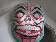 Blue Grinning Skull Mask 7946 (Brechtbug) Tags: blue grinning skull mask halloween semi vintage ben cooper collegeville halco ghoulsville retro newspaper sunday funnies comics holiday costume comic strip book comicbook spy movie film cinema americana america freedom justice super hero spooky jumbo size sized giant retroagogo vactastic 2016 nyc