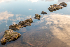 Down by the riverside (FloreB.) Tags: river water rocks diagonal pattern reflection blue sky clouds bottom floating dreamy mood peaceful quiet white stones riverside