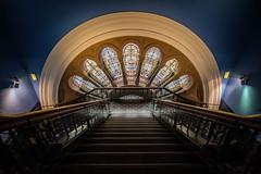 QVB 4: Stairway to Windows (OzzRod) Tags: pentax k1 irix15mmf24blackstone qvb queenvictoriabuilding architecture design sydney australia