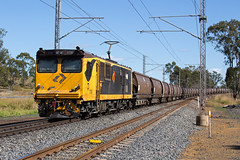 Trailing (PJ Reading) Tags: aurizon qr qrnational queensland rail railway train cargo goods freight locomotive qld australia transport transportation electric electricity coal mineral bulk export gladstone blackwater rockhampton northcoast central ncl 3800