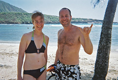 Sara and Jeff (cathrund) Tags: ocean beach hawaii bay sand oahu snorkeling pacificocean hanaumabay hanaumabaynaturepreserve hanaumabaybeachpark