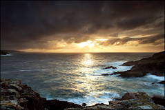 Strathy Point Towards Cape Wrath (angus clyne) Tags: ocean sunset sea cliff cloud lighthouse west point island scotland boat angus north scottish wave spray sail cape sutherland wrath beams higlands clyne strathy saariysqualitypictures flickrhivemindgroup