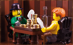 Poker (captainsmog) Tags: wood gold bottle lego coins poker seats lucky bowler vignette cheater