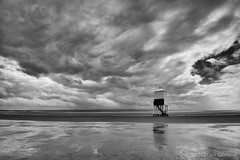 Clearing storm over Burnham lighthouse (Silver Doctor) Tags: england sky blackandwhite sun lighthouse storm beach wet monochrome rain june clouds mono wooden wind shoreline somerset gales lee filters flaming damp clearing graduated burnhamonsea bristolchannel didimentionitwaswindy 06gnd explorehighestposition5onmondayjune252012