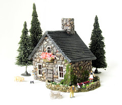 Medieval Stone Farmhouse with Vegetable Garden (Bewilder and Pine Miniatures) Tags: handmade polymerclay handpainted handcrafted tinyhouse scalemodel modelrailroad miniaturehouse
