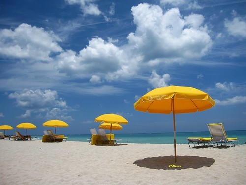 Yellow Umbrellas on Miami Beach
