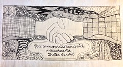 you cannot shake hands with a clenched fist (landscapeladyflickr) Tags: artquilt zentangles quiltangles