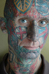 08012064 (clivelewis) Tags: uk england white man male men english portraits scotland unitedkingdom glasgow posing guys flags tattoos single adults 1person facial 30s 20s caucasian 2000s tattooed olderpeople onepersononly modelreleased noughties 24239574