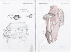 IDC Perspective Practice Page 7 (Flaf) Tags: auto colour water car pencil automobile jeep drawing id citroen ds sl mercedesbenz cherokee florian 19 siegen freie idc flaf r107 afflerbach zeichnerei idrawcars