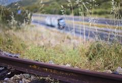 Rutas (Eduardo Estllez) Tags: espaa luz tren atardecer photography luces photo spain foto photographer camion autopista desenfoque silueta fotografia puesta ocaso fotografo extremadura caceres vias plasencia autovia viadelaplata rutadelaplata eduardoestellez estellez